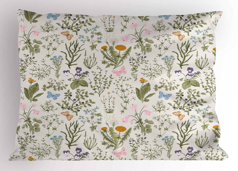 Floral Duvet Cover Set with Pillow Shams Vintage Garden Plants Print