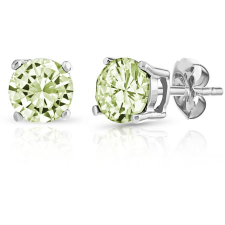 Round Peridot Gemstone Sterling Silver Stud Earrings