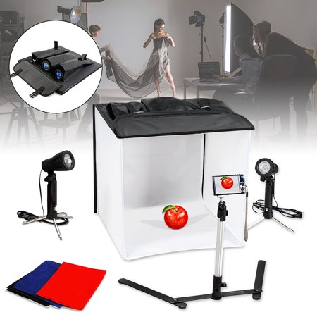 Photo Video Photography Studio Kit Light Box Tent Room Lighting Backdrop Cub Halogen Lamp Product Video Shooting Photography(Size: 40X40X40