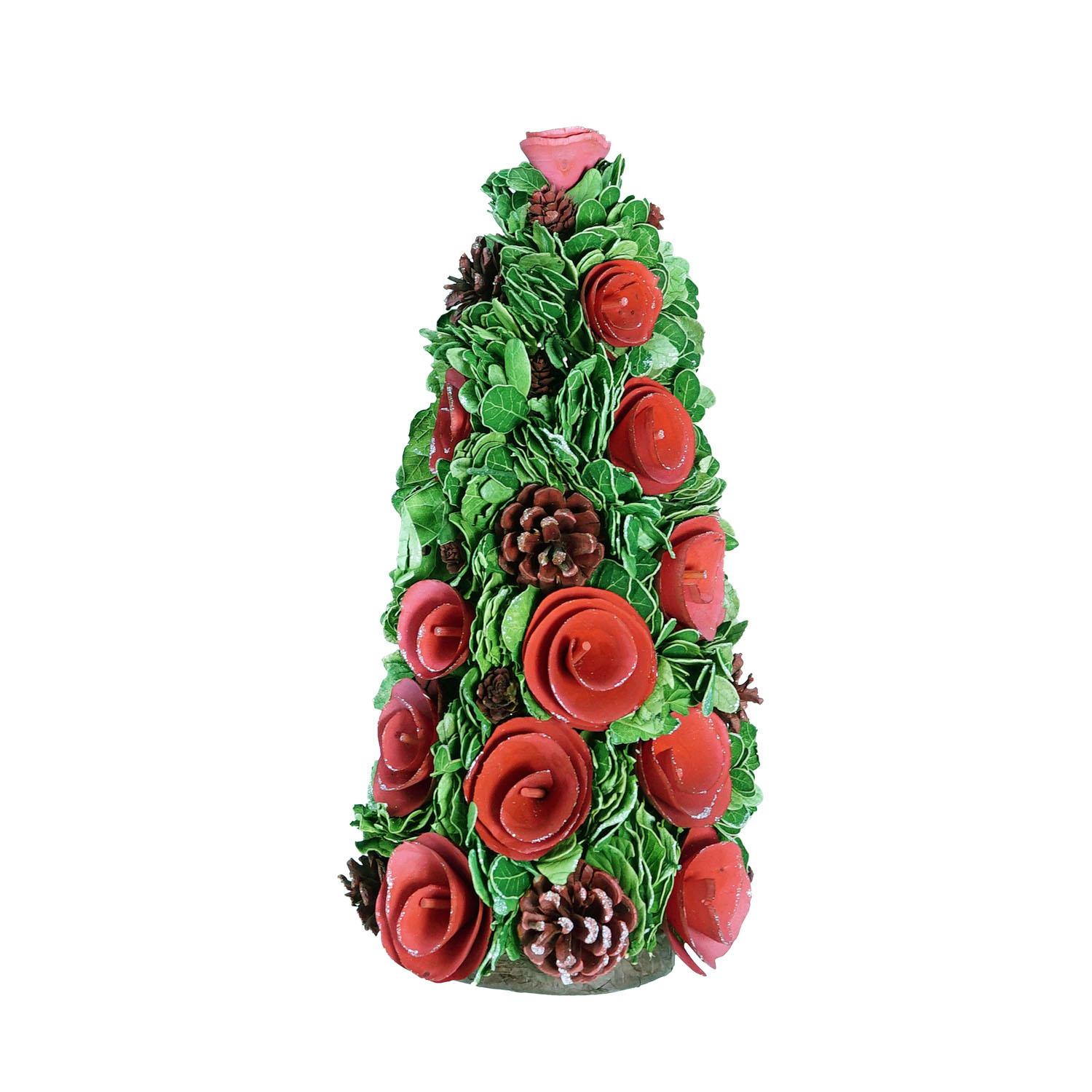 Northlight 15.75 in. Red Wood Rose Flower and Pine Cones Christmas Tree Decoration