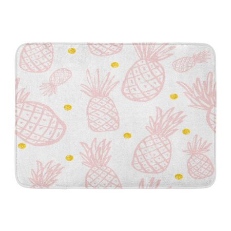 LADDKE Green Summer Pineapple Vintage for Your Pineapples Rose Quartz Modern Color Gold Pink Pattern Yellow Doormat Floor Rug Bath Mat 23.6x15.7 inch](Gold Door)