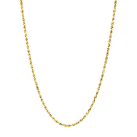 Women's 10KT Yellow Gold 2.0mm Rope Chain Necklace, Simply Gold ()