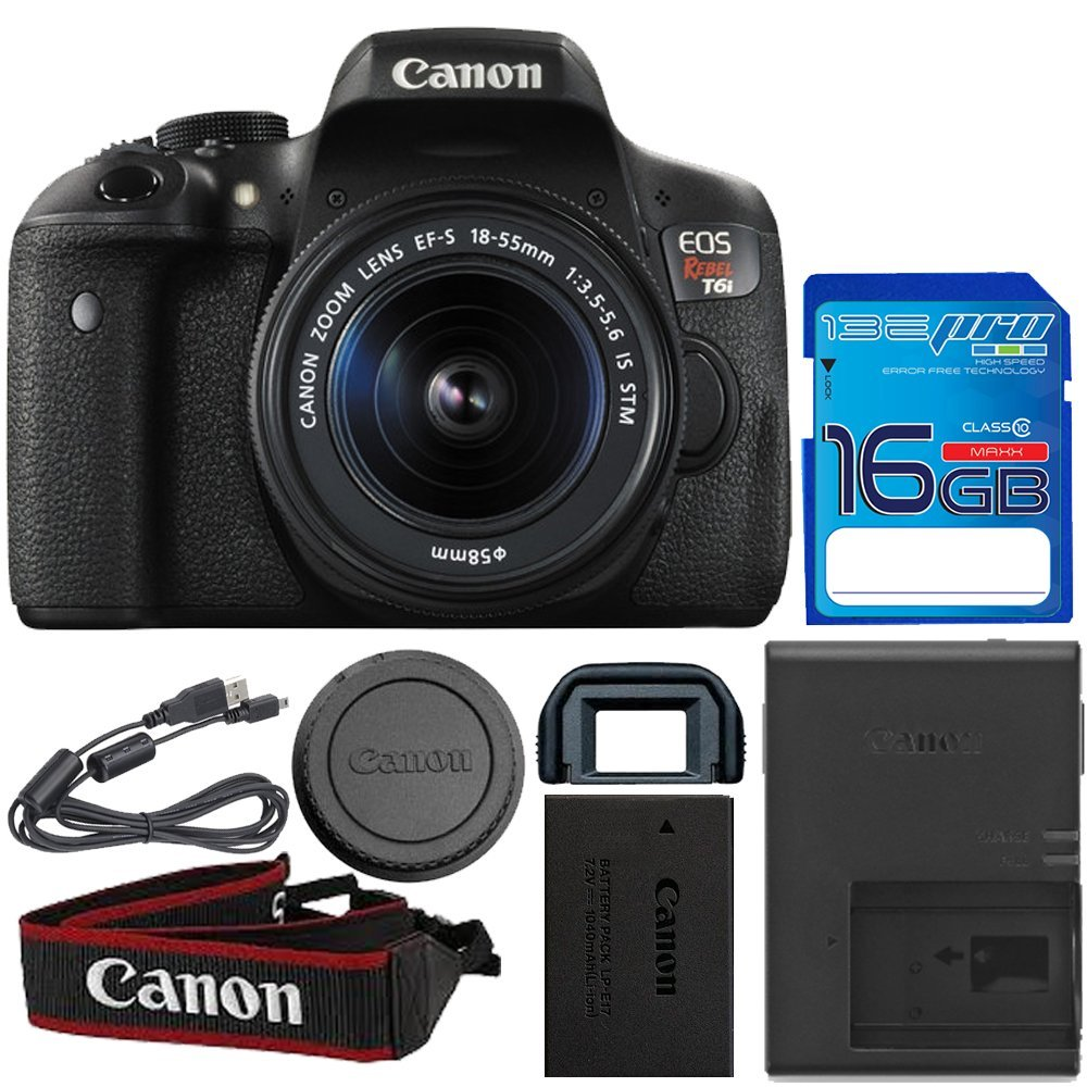 Canon EOS Rebel T6i DSLR Camera with 18-55mm Lens + I3ePro 16GB SDHC Memory Card