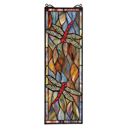 Design Toscano Tiffany Style Dragonfly Stained Glass Window Rooster Stained Glass