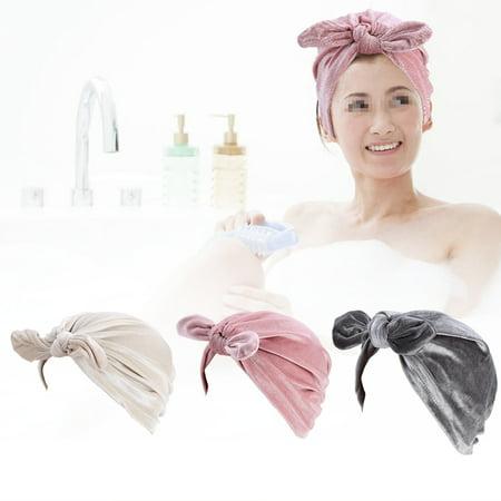 Velvet Turban - WALFRONT Hot New Winter Velvet Rabbit Ear Turban Hats Women Soft Velvet Chemo Hat Hair , Feather Hat, Retro Hat