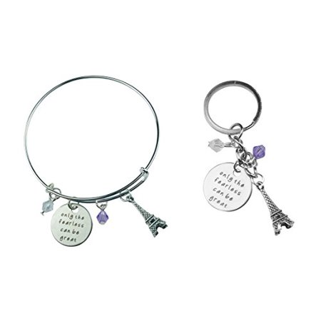 Art Attack Silvertone Only Fearless Can Be Great Paris Eiffel Tower Beaded Charm Expandable Bracelet Keychain Bag Charm Gift Combo Set