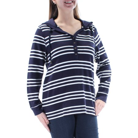 CHARTER CLUB Womens Navy Hooded Striped Long Sleeve V Neck Top Plus  Size: 0X