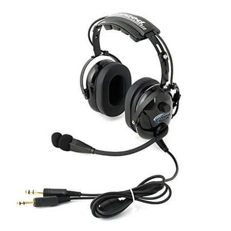 Rugged Air RA200 General Aviation Pilot Headset with GA Dual Plugs and MP3 Music Input
