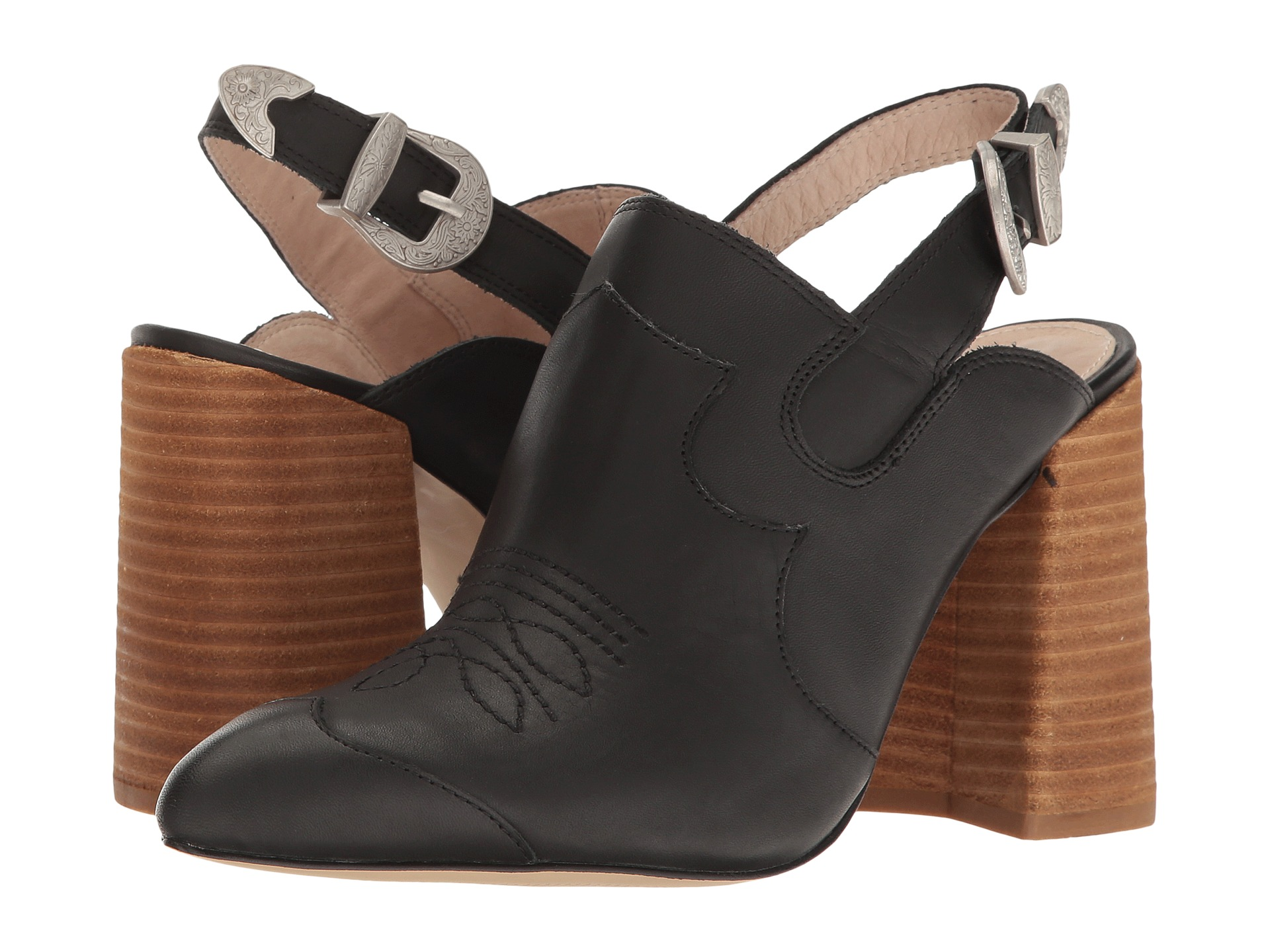 Shellys London Donna Black leather Pointed Toe Slingback Mule Bootie (40)