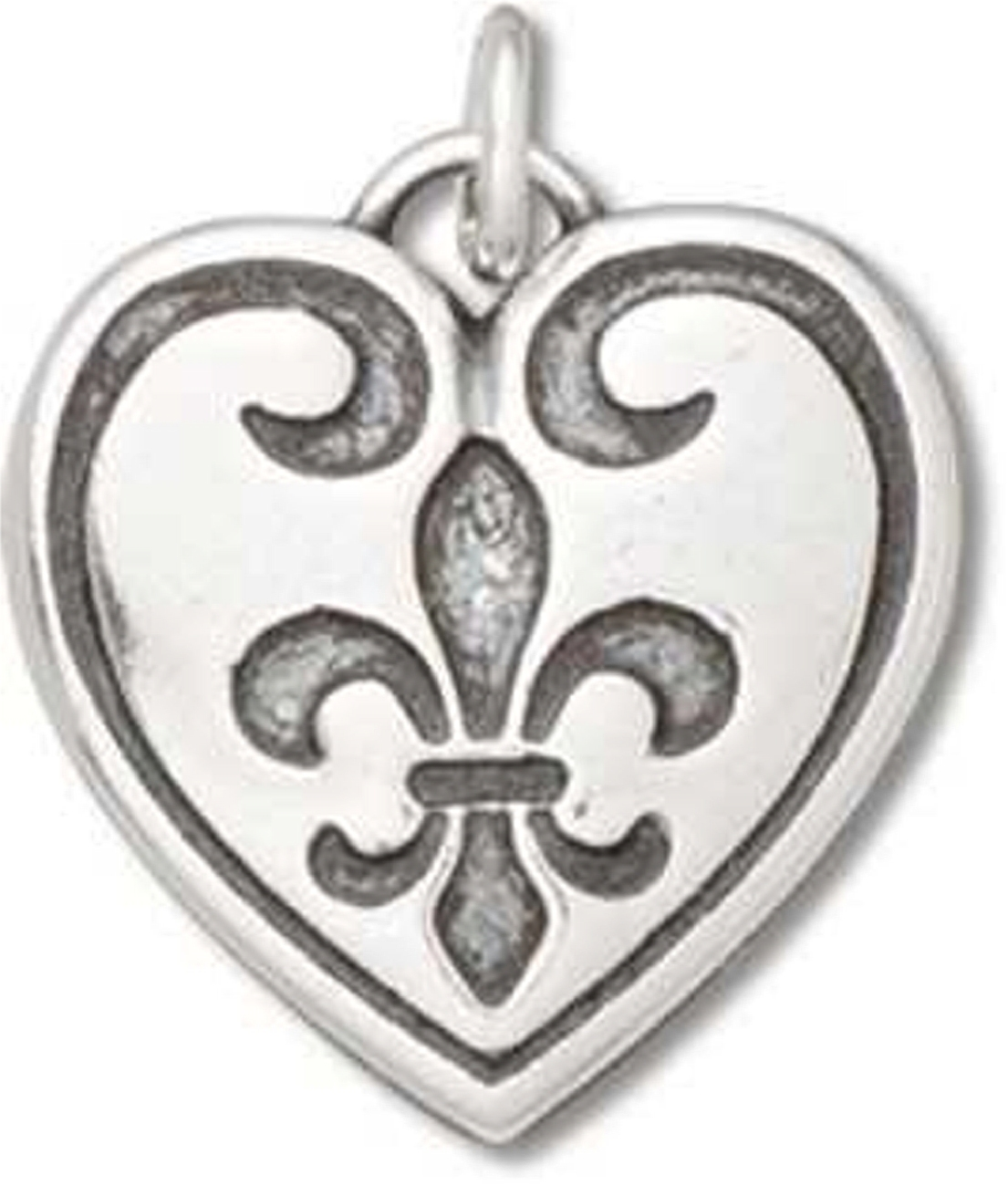 Sterling Silver Girls .8mm Box Chain French Heritage Fleur De Lis Pendant Necklace