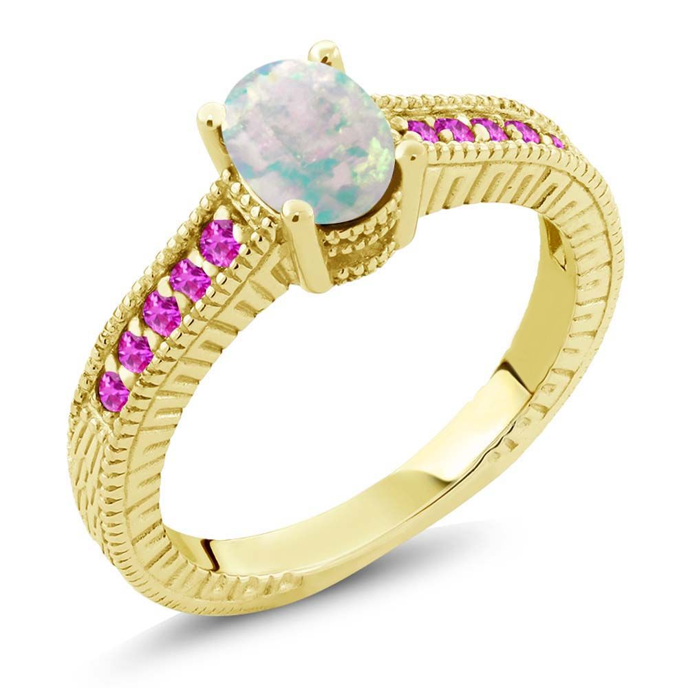1.13 Ct White Simulated Opal Pink Sapphire 18K Yellow Gold Plated Silver Ring by