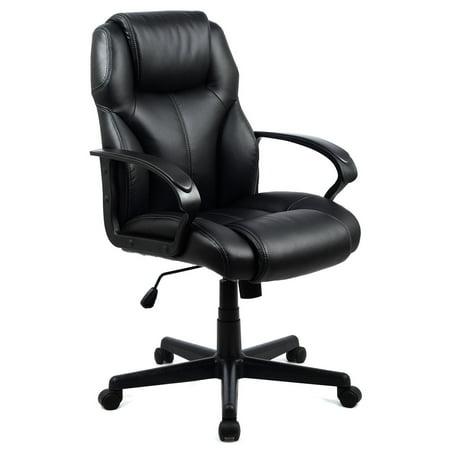 costway pu leather ergonomic high back executive computer. Black Bedroom Furniture Sets. Home Design Ideas