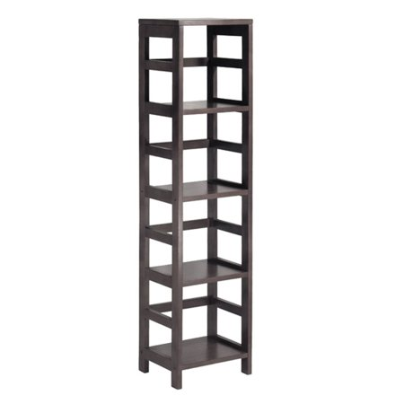 Winsome Wood Leo 4-Section Narrow Open Storage Shelf, (Open Offset Angle Shelving)