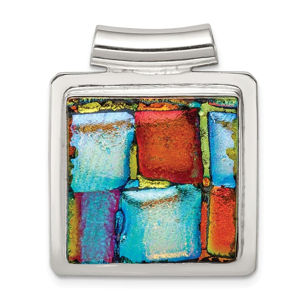 Sterling Silver Multicolor Dichroic Glass Sqare Pendant