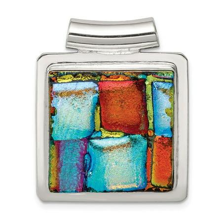Diamond2Deal 925 Sterling Silver Multicolor Dichroic Glass Square Pendant