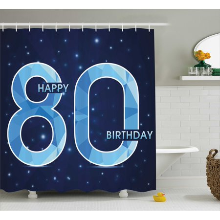 80th Birthday Shower Curtain, Diamond Age 80 Yeras Old Happy Birthday Party Theme with Stars, Fabric Bathroom Set with Hooks, 69W X 75L Inches Long, Navy Blue and Sky Blue, by Ambesonne - 3 Year Old Birthday Party Themes