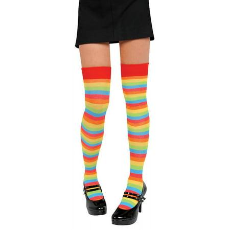 Rainbow Striped Knee Highs Adult Costume Accessory - Adult Goofy Costume