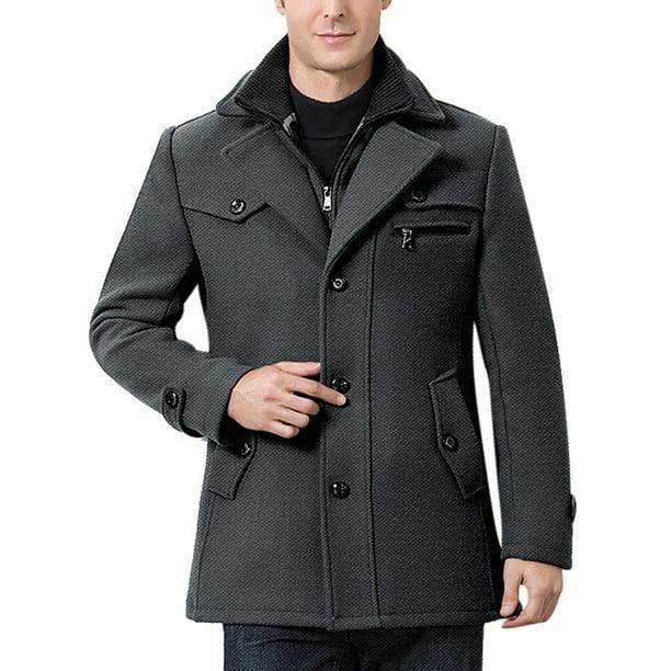 Cvlife Men Casual Winter Pea Coat Slim, Mens Peacoat Slim Fit Grey