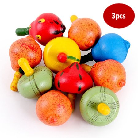 3pcs Novelty Educational Wooden Toy Fruit Gyro Spinning Peg-Top Spinner