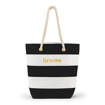 Bliss Striped Tote Bag in Black and White
