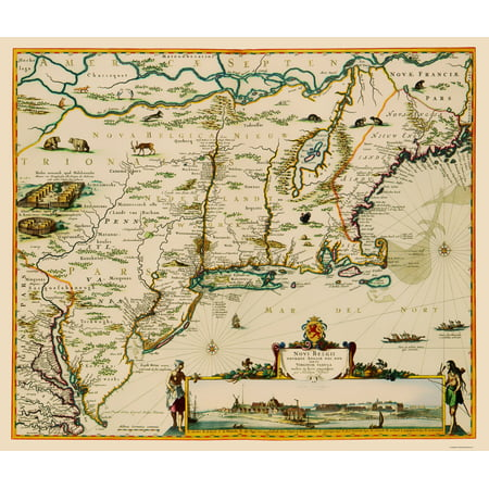 Old State Map   Us East Coast  Chesapeake Bay To Maine   Danckerts 1685   23 X 27 12