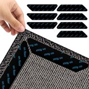16 pcs Rug Tape, Non Slip Reusable Washable Rug Grippers for Area Rugs, Floor Mats, Hardwood Floors, Tile Floors, Linoleum, Carpets, Black (not Applicable to Rubber or Silicone Carpet and Rugs)