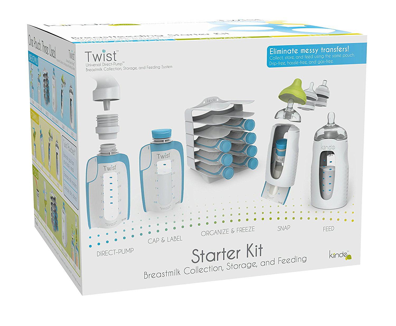 Breast Milk Storage Twist Starter Kit, Pouch Set Kozii Organizer advanced Breastmilk for BagGrey Starter Twist... by Kiinde