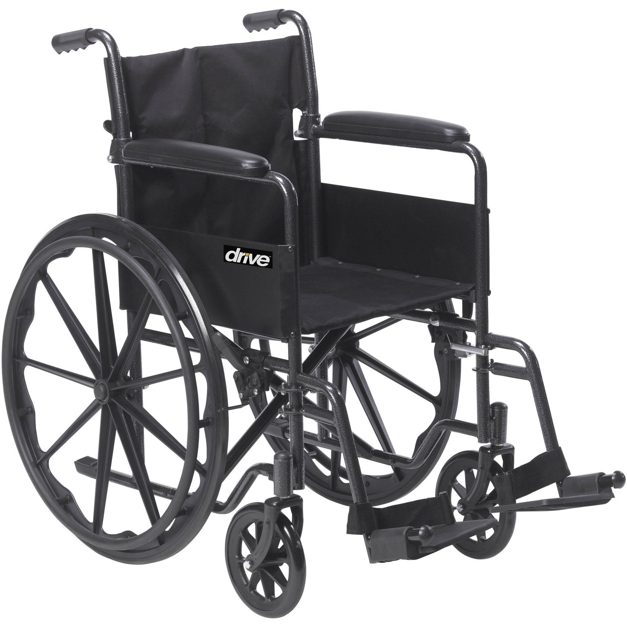 Drive Medical Silver Sport 1 Wheelchair with Full Arms and Swing Away Removable Footrest