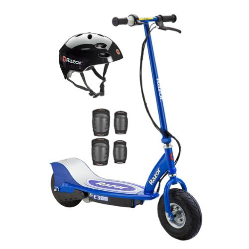 Razor E300 Electric Motorized Scooter (Blue) with Helmet, Elbow & Knee Pads