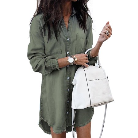 Plus Size Fashion New Women Denim Long Sleeve Tassel Blouse Tops Mini Dress Long Boyfriend Shirt Denim Jeans Tops Ladies Denim Button Lapel V Neck Casual Tunic T-Shirt Size 4-20 New Ladies Celebrity Fashion