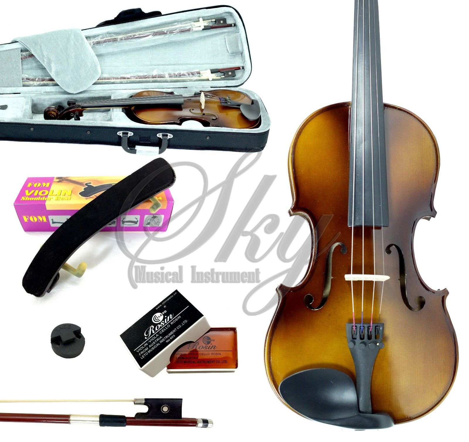Sky High Quality Sound 1/2 Size Student Beginner Violin Fiddle Outfit with Light Weight Hard Case, Brazilian Wood Bow, and Mute