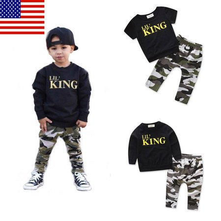 Newborn Infant Toddler Kid Baby Boy Outfit Suit Clothes King Long Sleeve Black T-Shirt +Camo Pants Outfits Tops Set for 6M-6Y Baby Boy