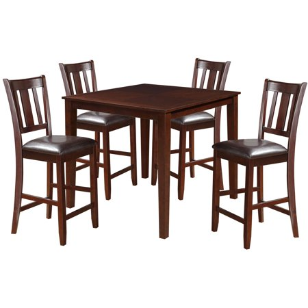 Acme Odran 5-Piece Counter Height Set, Espresso and Espresso Faux Leather