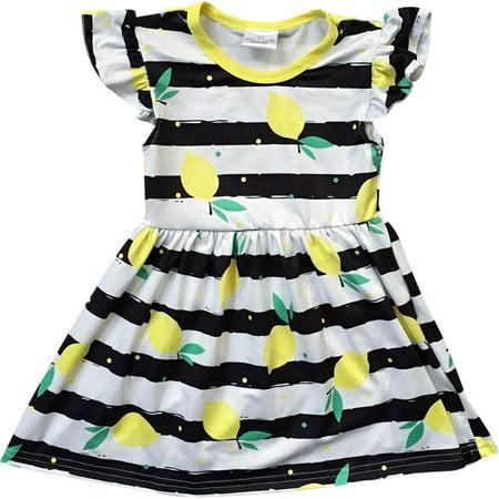 Toddler Girl Kids Lemon Stripe School Holiday Birthday Party Girl Dress Black 2T XS 501276 BNY Corner - Kids Holiday Dress
