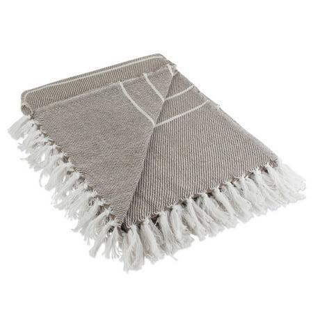 - DII CAMZ10383 Rustic Farmhouse Cotton Thin White Striped Blanket Throw, Stone