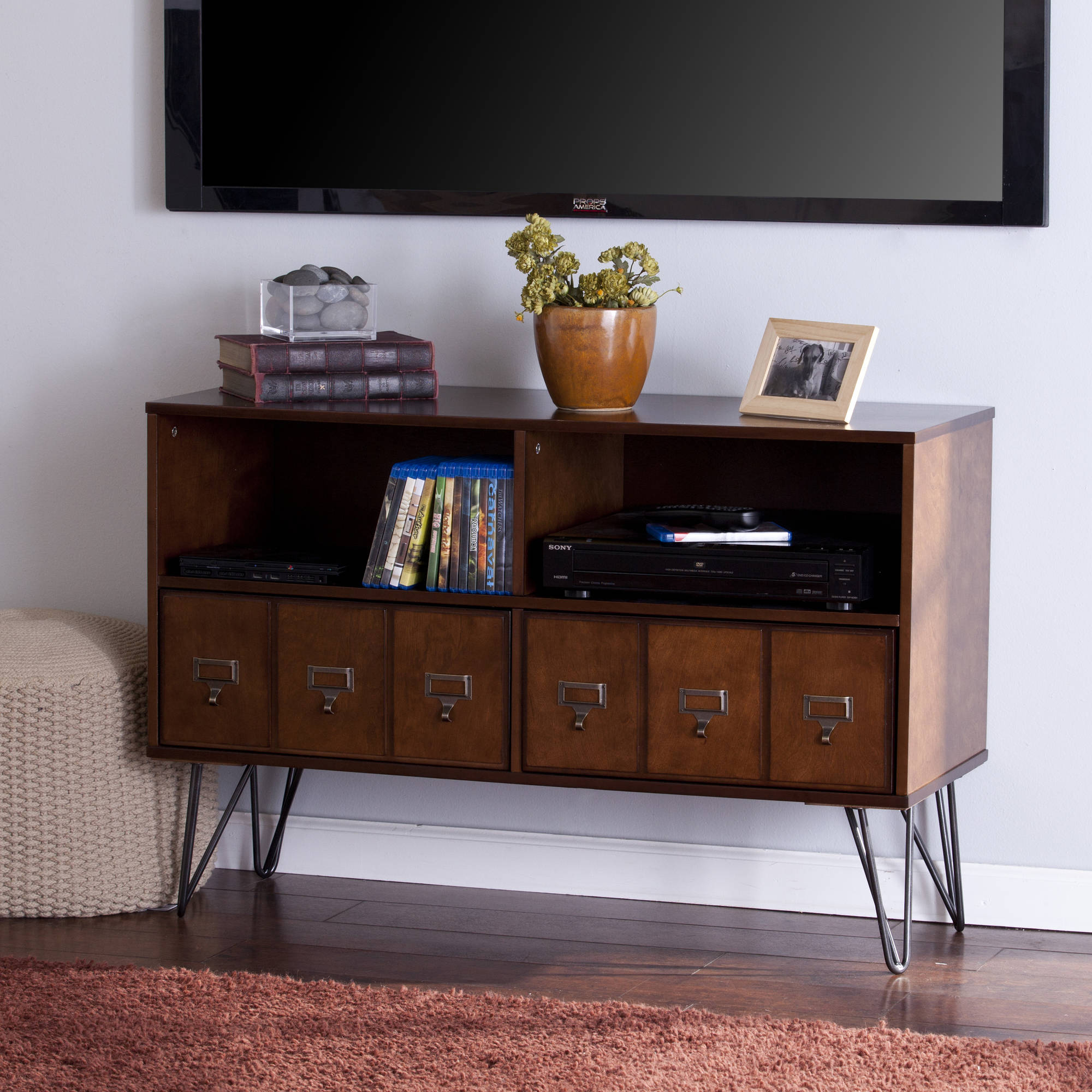 Southern Enterprises Blandenship MidCentury Whiskey Maple TV Stand for TVs up to 40""