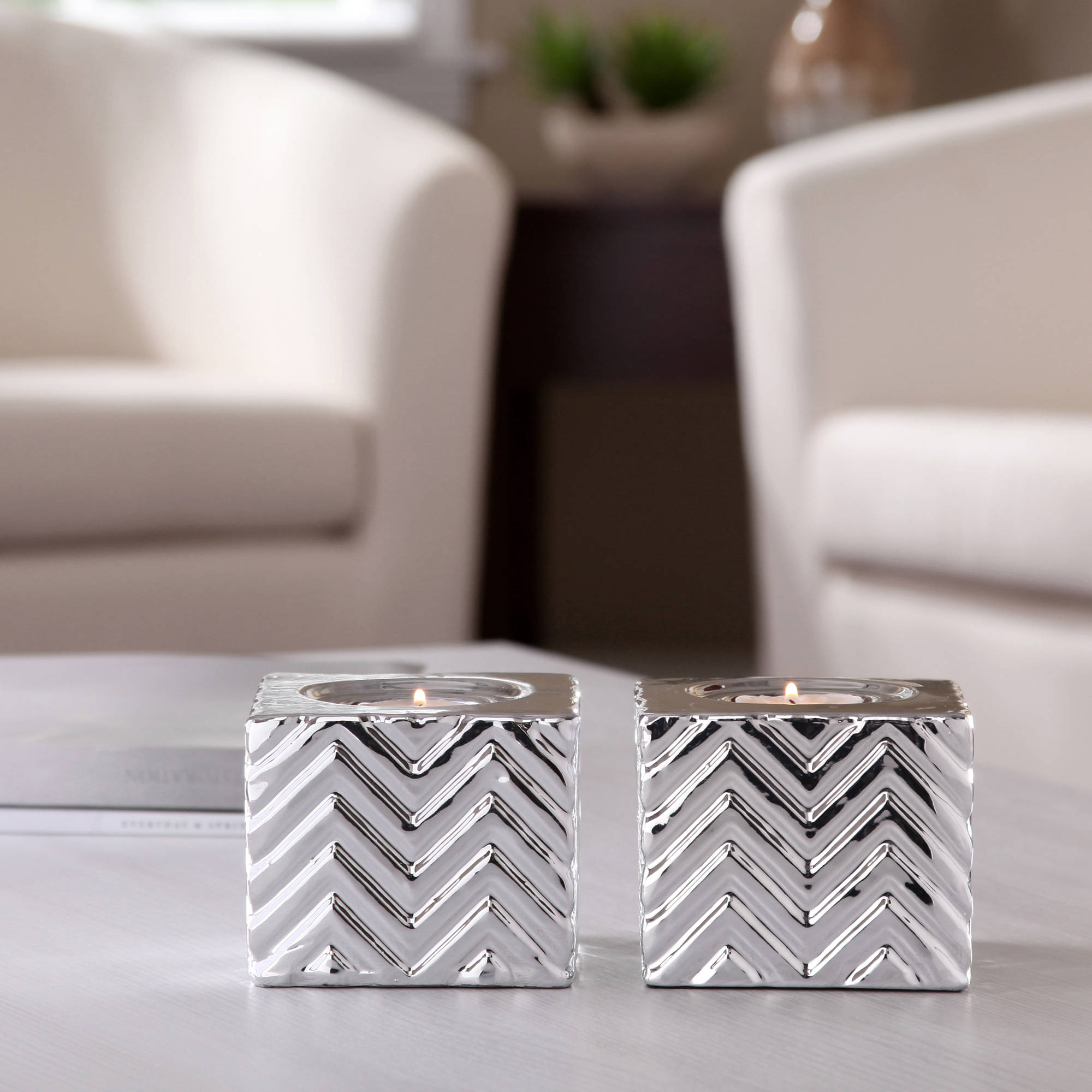 Better Homes and Gardens Ceramic Chevron Tealight Candle Holders, Set of 2