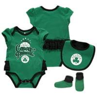 Boston Celtics Girls Newborn & Infant Mini Trifecta Bodysuit, Bib & Booties Set - Kelly Green/Black