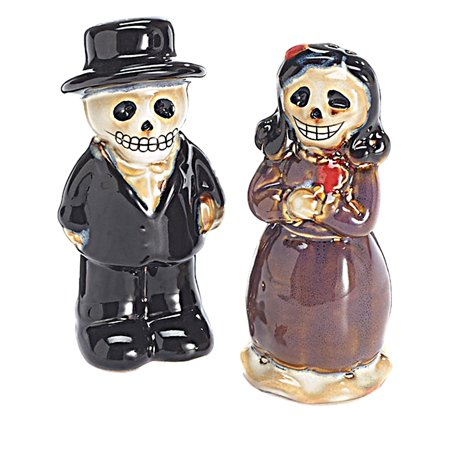 Unbranded Halloween Table Decor Skeleton Zombies Couple Ceramic Salt & Pepper Shakers - Salt Dough Crafts Halloween