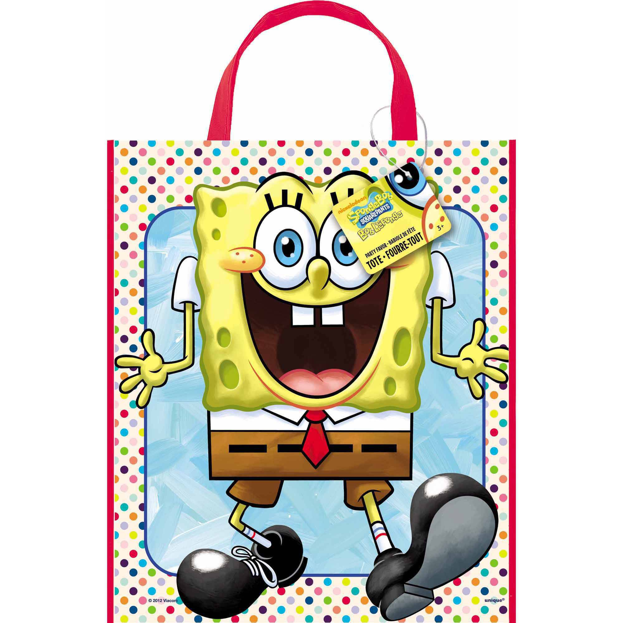 "Large Plastic SpongeBob SquarePants Favor Bag, 13"" x 11"""