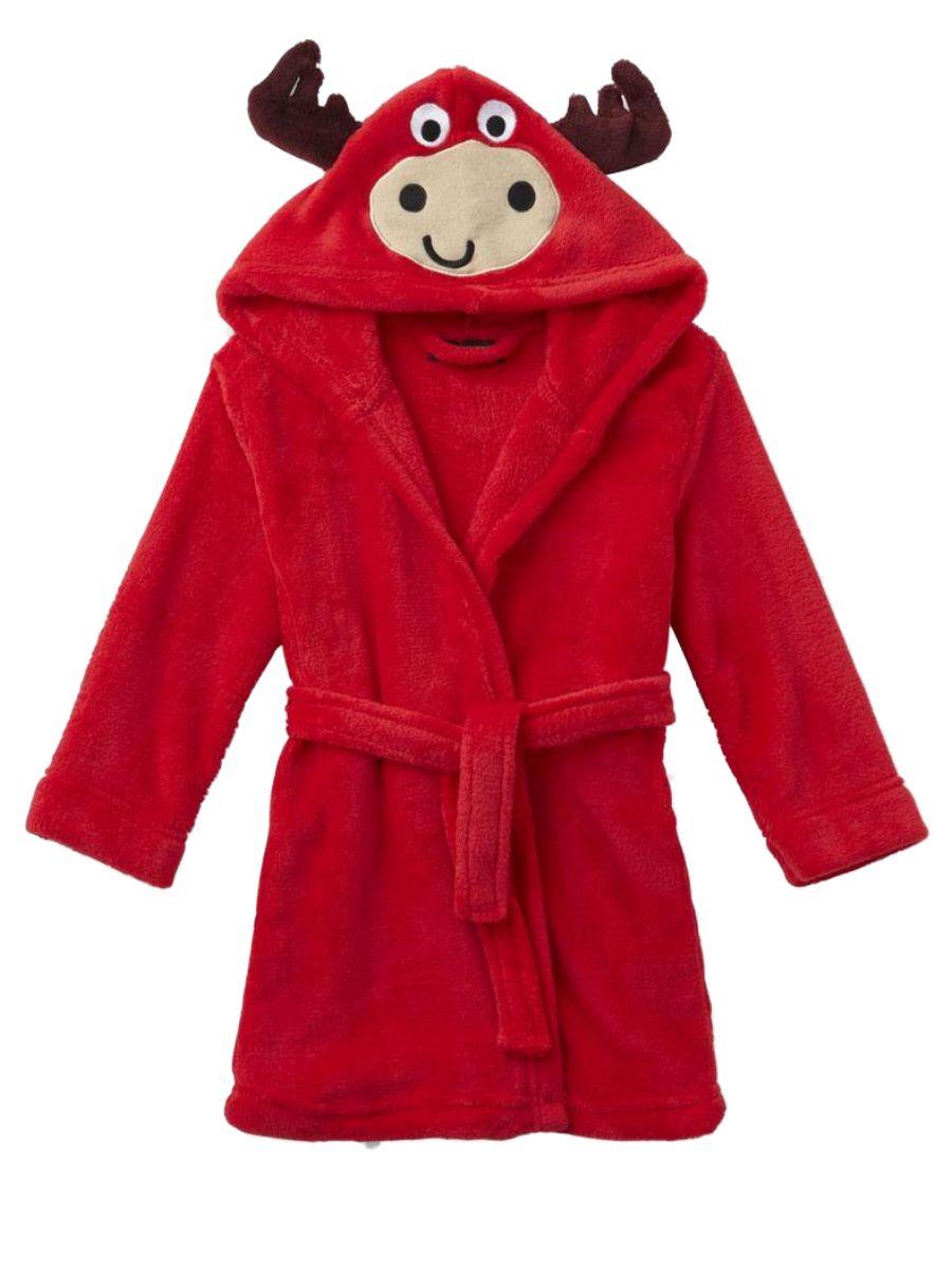 Toddler Boys Plush Red Hooded Bull Bath Robe Fleece House Coat 3T