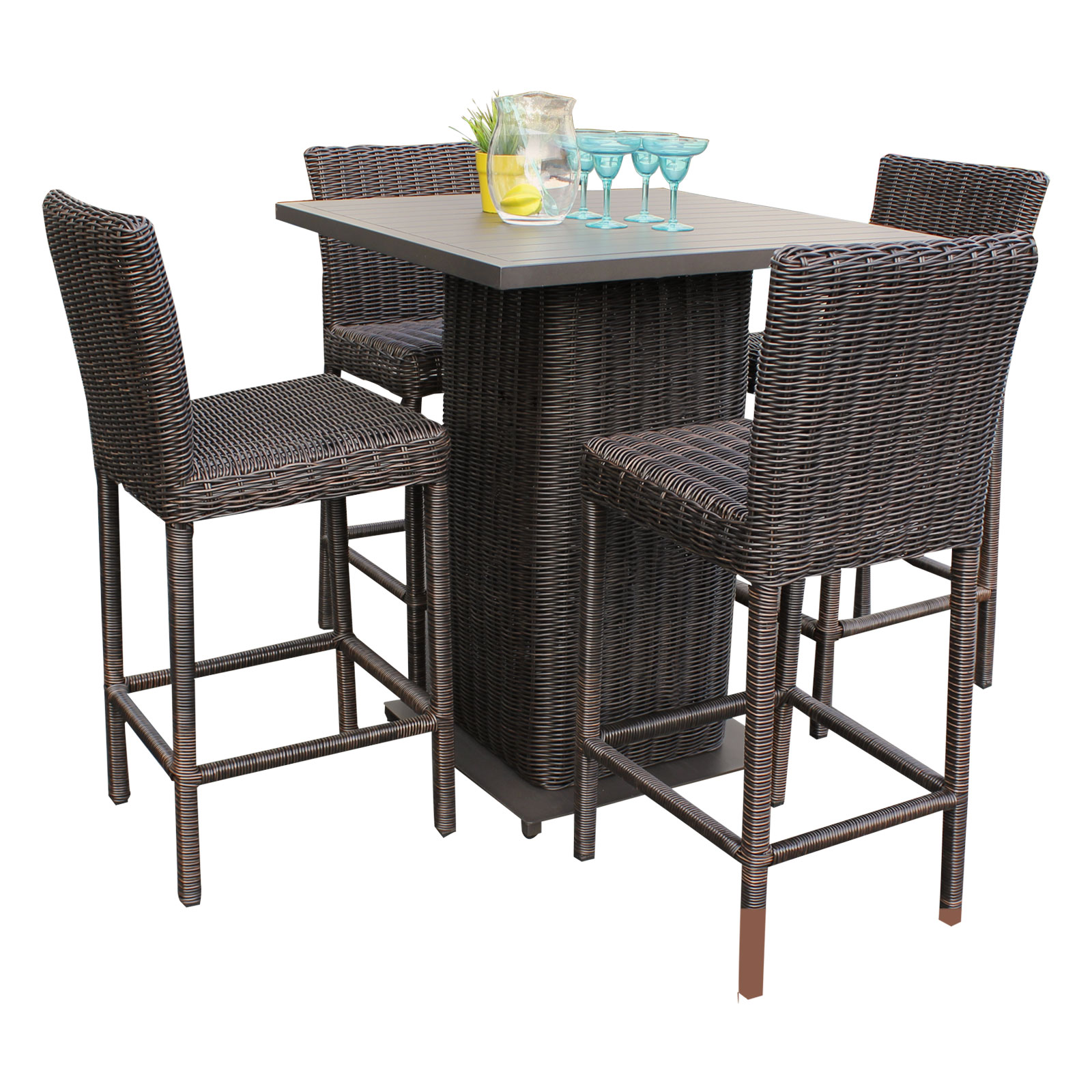 Delicieux Rustico Pub Table Set With Barstools 5 Piece Outdoor Wicker Patio Furniture