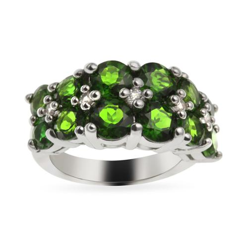 Sterling Silver 3.84ct 3.84ct Chrome Diopside and White Topaz Wide Ring Size 5