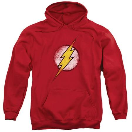 Logo Mens Hoodie Sweatshirt - Justice League Destroyed Flash Logo Mens Pullover Hoodie