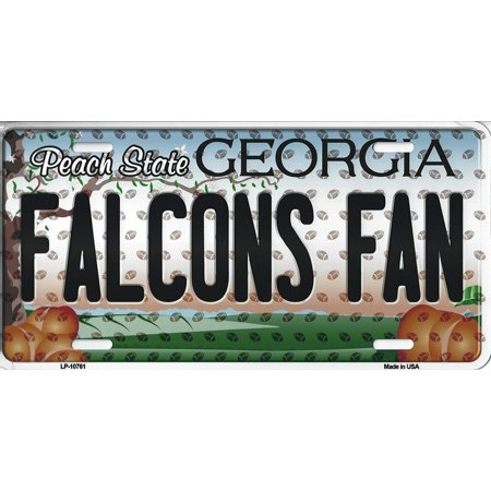 Falcons Georgia State Background Novelty Metal License Plate Tag (Falcons Fan) ()