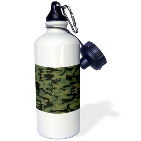 3dRose Dark green camo print - hunting hunter or army soldier uniform style camouflage woodland pattern, Sports Water Bottle, 21oz