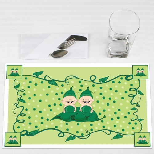 Twins Two Peas in a Pod Caucasian Party Placemats Set of 12 by Big Dot of Happiness, LLC
