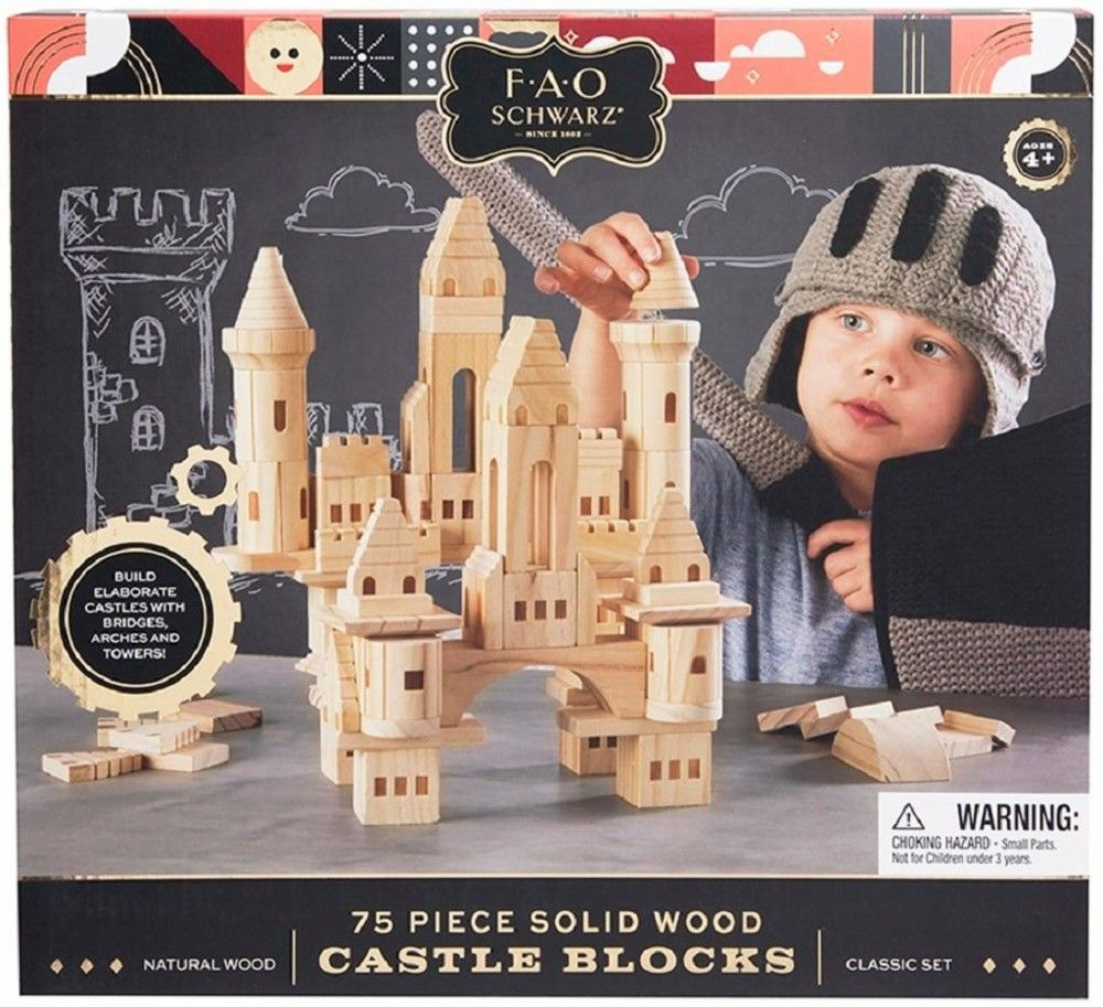 75 Piece Wooden Castle Building Blocks Set Toy Wood Kids Child Play Set Toys New