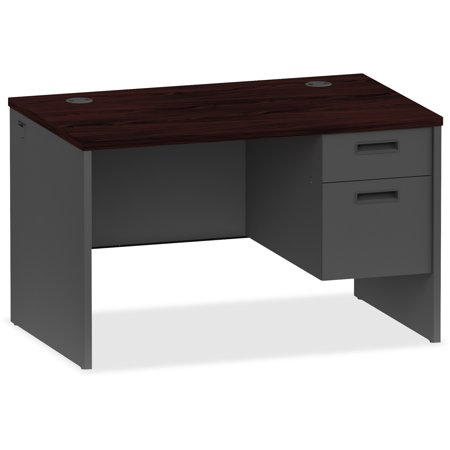 Lorell, LLR97115, Mahogany/Charcoal Pedestal Desk, 1 Each