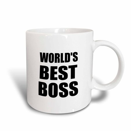 3dRose Worlds Best Boss in black - great text design for the greatest boss, Ceramic Mug,